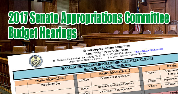 2017 Senate Appropriations Committee Budget Hearings